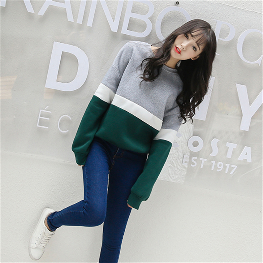 Autumn New Spell Color Stitching Harajuku Women Hoodies Pullover Fleece Loose Fe image 3