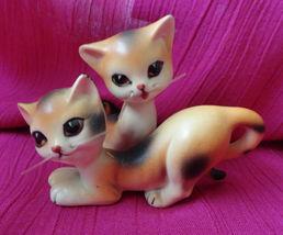 Whimiscal Slinky Whiskered Calico Cat Salt and Pepper Shakers Ceramic er... - $32.49