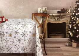 "Dash Away Home gold Silver Gray Snowflakes on White Tablecloth 84"" Oblong - $39.00"