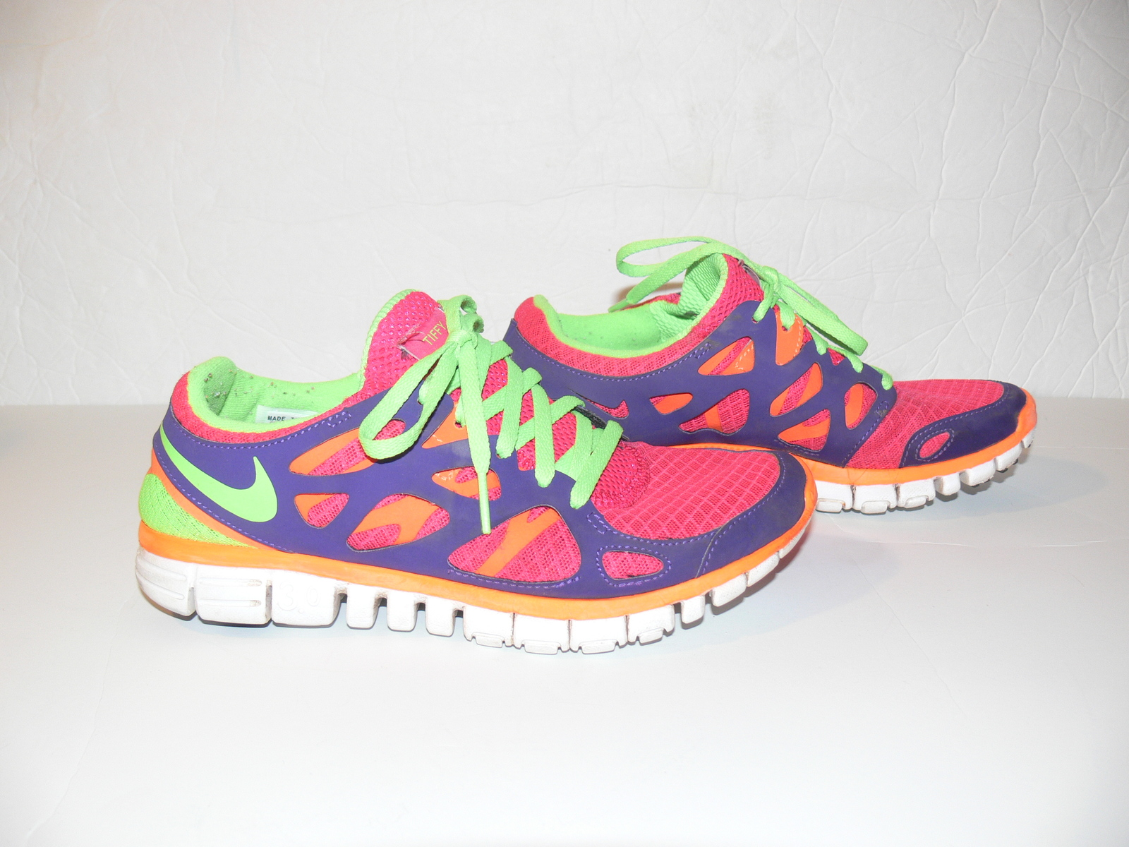 newest 7dc09 71bd8 NIKE ID FREE RUN 2 3.0 Shoes Pink Green Purple WOMENS Athlietic Size ...