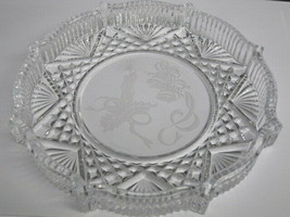 Waterford crystal Signed Christmas plate bells and candle etched - $27.12