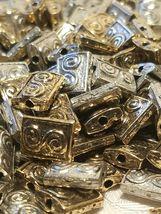 SPIRAL RECTANGULAR Fine Pewter Metal Bead 10X7MM image 3