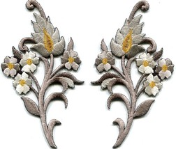 Silver charcoal flowers blossoms embroidered appliques iron-on patches S... - £3.00 GBP