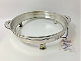 Trademark F.B. Rogers Silver Plate Round Casserole Holder w/Handles 3-Footed 586 - $21.80