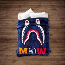 Dark Blue Shark Camo Ape Bape Blanket Soft Cover Bed Cover Sofa Blanket ... - $54.99