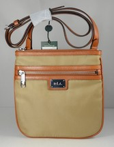 Ralph Lauren Women's Nylon/Leather Trim Skinny Crossbody Bag Tan  - $64.98