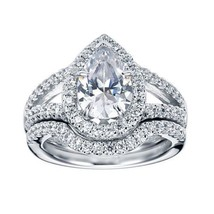 Certified 2.90Ct Pear Diamond Halo Engagement Wedding Ring Set in 14K Wh... - $278.88