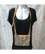 Fossil medium Tapestry Leather Adjustable Crossbody Shoulder Purse Bag EUC - $39.00