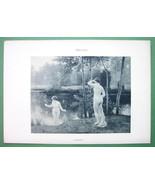 NUDE Ladies Surprised at River Bath - VICTORIAN Lichtdruck Print - $9.45