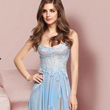 Women Lingerie Gown Nightwear Mesh Babydoll Dress Lace Chemises Nightie Set
