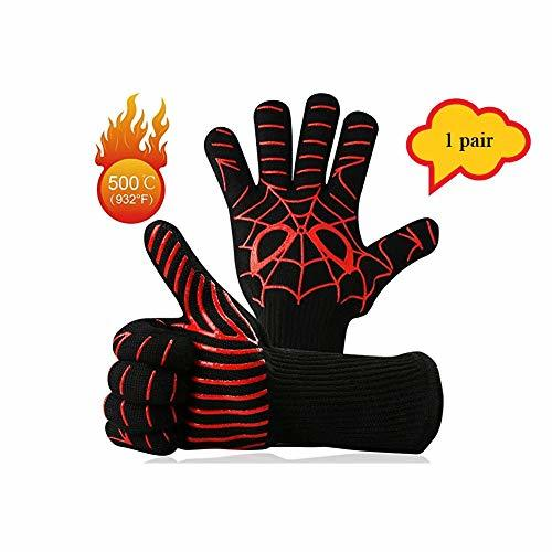 L.GFANG Grilling Gloves, 932℉Heat Resistant BBQ Cooking Gloves Grill Gloves Sili