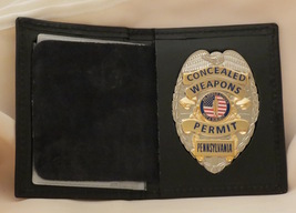 Concealed Weapons Permit Badge & badge case Gold Missouri - $43.50