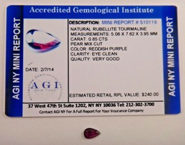 Natural Red-Purple Rubellite Tourmaline Pear 0.85 Ct Certified App $240 ... - $47.52
