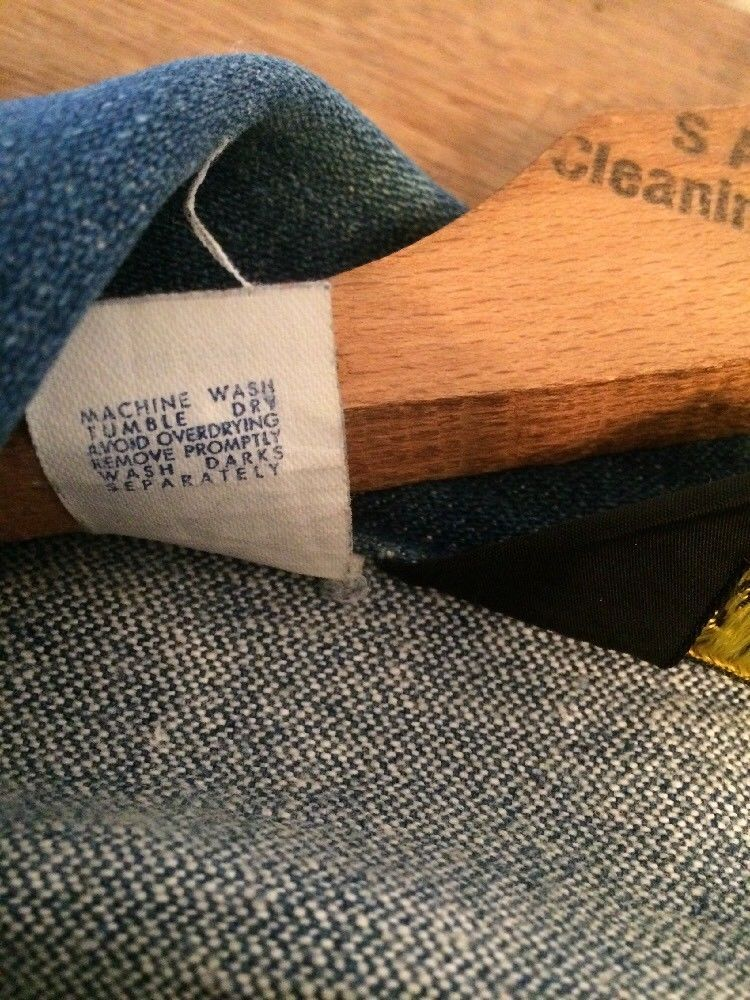 39f92000 Vintage Wrangler Denim Jacket Size 44 124MJ 14 OZ PLUS SANFORIZED Made In  USA