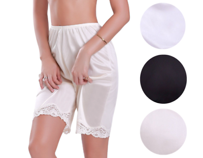 New Women's Premium Illusion Classic Trouser Pants Half Slip With Lace Trim 1037