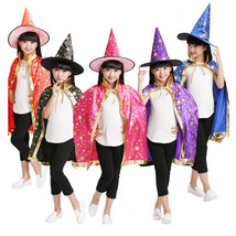 Witch Gown Halloween Costume Child Girls Boys Wizard Cloak Cosplay Hat C... - $16.11