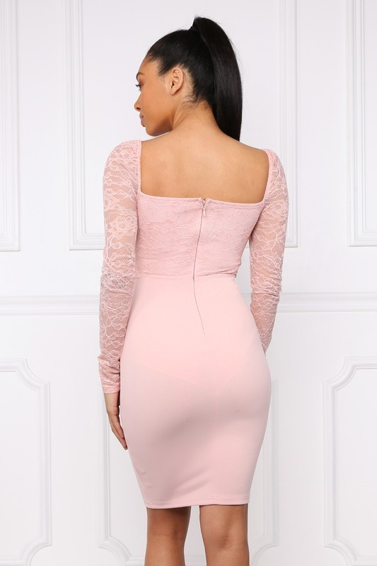 Image 3 of Romantic Sweetheart Neckline Powder Pink Bodycon Party Dress, S, M or L