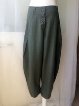 Women Army Green Wide Leg Pants Long Linen Pants Trousers Summer Harem Pants  image 2