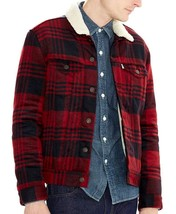 NEW LEVI'S MEN SHERPA LINNED TRUCKER PLAID JACKET REGULAR FIT 705980028 SIZE 2XL