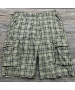 WearFirst Cargo Shorts Men's 32 Plaid 100% Cotton Flat Front  - £12.26 GBP