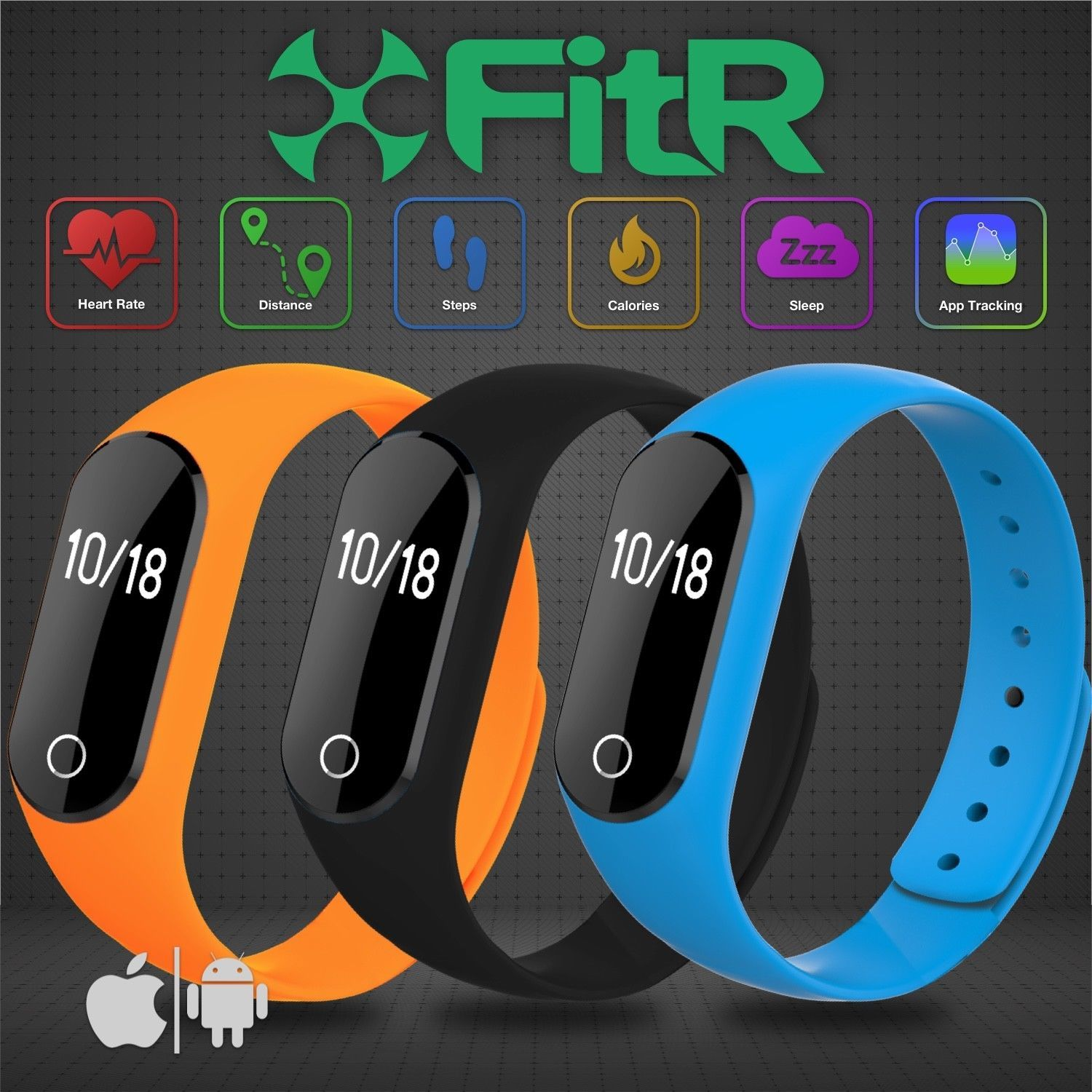 FitR Smart Heart Rate Monitor Fitness Tracker Bracelet Watch for Running Cycling