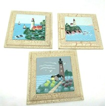 """Set of Three Lighthouse Wall Plaques, 7"""" Square Each, Home Decor Nautical - $22.72"""
