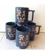 FRANKOMA Pottery Ranch Mug Set Of 4 C1 Brands Western Cups Navy Blue Vin... - $39.55