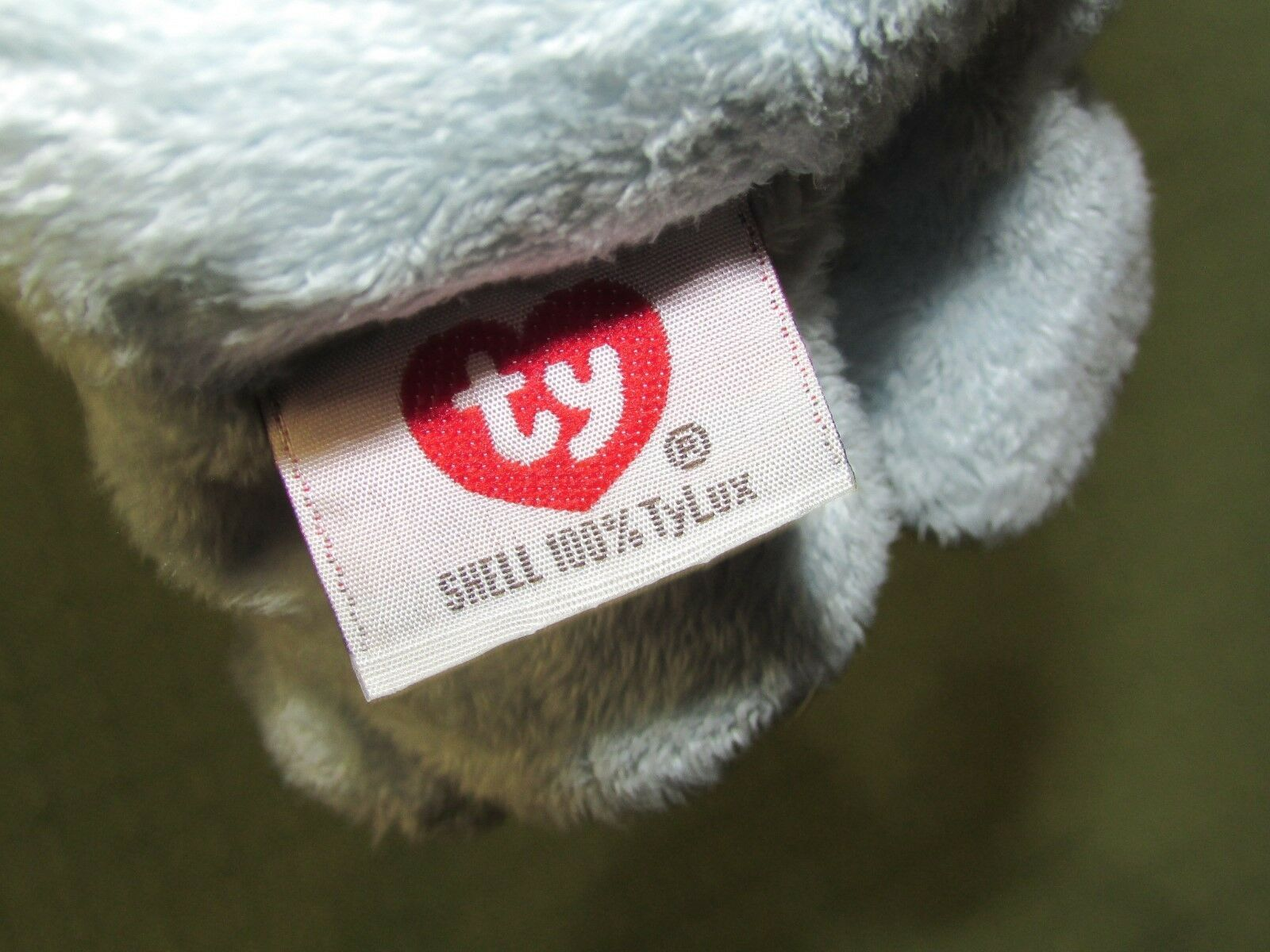 Ty Pluffies BLUEBEARY TEDDY BEAR Blue Plush Stuffed 2002 Brown Nose Green Tummy