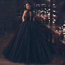 Sexy Black Deep V- Neck Halter Side Split Backless Bridal Dress