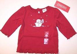 NWT Gymboree Girl's Red Snowman Ruffle Tee Top, Mountain Cabin, 6-12 Mos. - $11.95