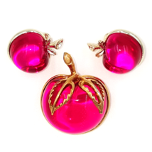 Sarah Coventry Vintage Brooch and Earring Set with Kitschy Hot Pink Apples - $49.00