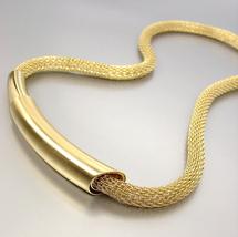 UNIQUE Artisanal Burnished Mat Gold Bar Medallion Mesh Cord Necklace - $19.99