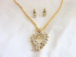"""Crystal Rhinestone Open Heart Pendant 18"""" Necklace & Stud Earrings Gold ... - $8.99"""