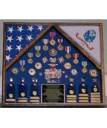 ARMY TWO CASKET FLAG SHADOW BOX DISPLAY CASE FOR MEDALS AND BADGES - $845.49
