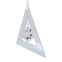 Aluminum and Crystal Triangle Ornament - Bell image 3