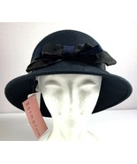 Womens Betmar New York Cloche Hat Black Wool with Bow - $49.45