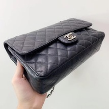 BRAND NEW AUTH Chanel Medium Black Caviar Classic Double Flap Bag SHW image 3