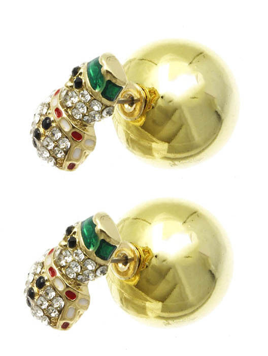 Bling Crystals Snowman Christmas Double Sided Ball Earrings Goldtone