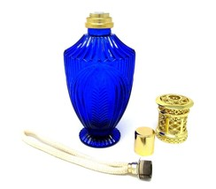 Vintage Cobalt Blue Glass Catalytic FRAGRANCE OIL LAMP Diffuser AROMATHE... - $32.18