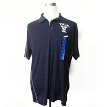 Yale University Bulldogs Men Polo Shirt Size L Navy Blue Stripes Champion Elite - $58.15