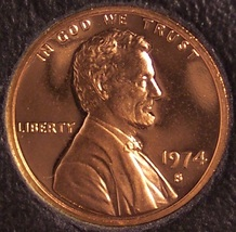 1974-S DCAM Proof Lincoln Memorial Penny #0127 - $1.19