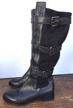 Cole Haan Soft Air Avalon 6.5 B Black Suede Leather Tall Buckle Riding B... - $106.42
