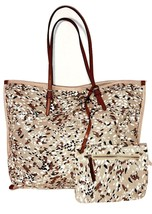NEW WOT Anthropologie Canvas w/ Leather Handles Large Tote Shoulder Bag ... - $39.00