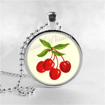 Rockabilly Cherry Pendant Necklace Red Cherries Photo Art Jewelry, Red F... - $11.95