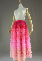 Pink Blush Nude Tiered Tulle Skirt Women High Waist Tiered Tulle Skirt Plus Size image 3