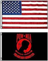 3x5 Usa American Flag & Pow Mia Red Powmia Flag 3' X 5' Wholesale Lot Flags - $24.00