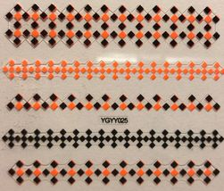 BANG STORE Nail Art 3D Decal Stickers Neon Orange & Black Square Design Pattern  - $2.11