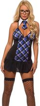 Sexy Extra Credit Blue Plaid School Girl Deluxe Costume Set