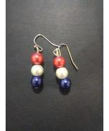 Patriotic Glass Pearl Earrings - $5.00