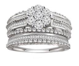 2 CT Round & Baguette Diamond Engagement & Wedding Bridal Set 10k White Gold - $237.59